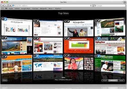 Safari 4 BETA - Top Sites
