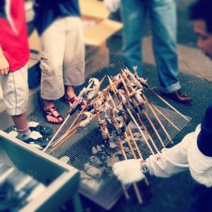 祭りのヤマメ塩焼き