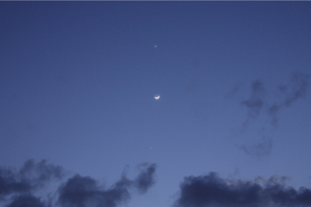 金星・月・木星のランデブー