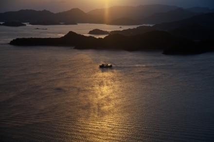 きらめく海をゆく船
