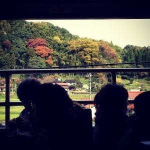 窓の外にはのどかな風景